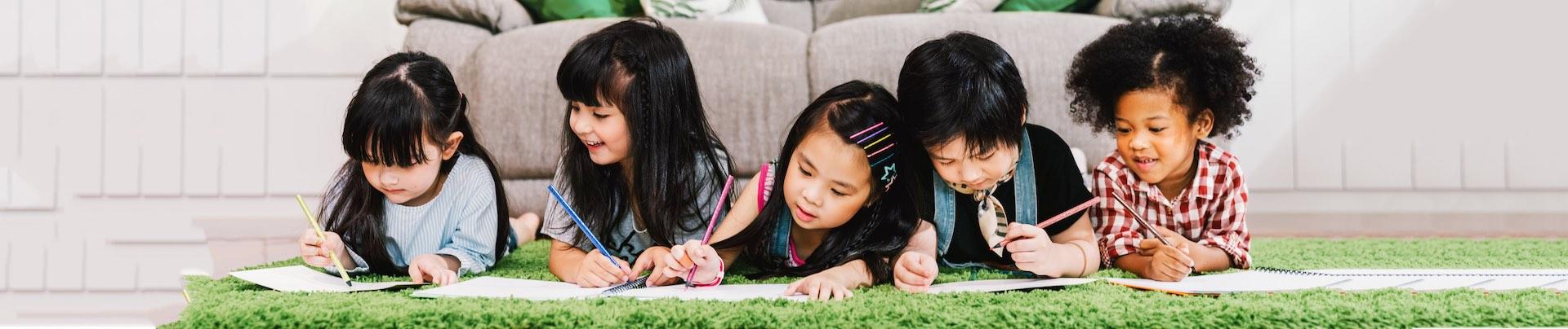 Kids Writing While Lying Down